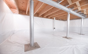 Crawl space structural support jacks installed in Cobble Hill