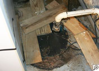 An ugly, clogged sump pump system in Courtenay, British Columbia