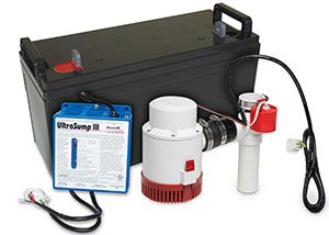 a battery backup sump pump system in Comox