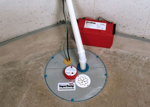 A sump pump system with a battery backup system installed in Nanoose Bay