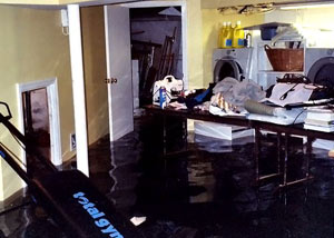 A laundry room flood in Parksville, with several feet of water flooded in.
