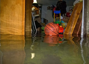 A flooded basement bedroom in Roberts Creek