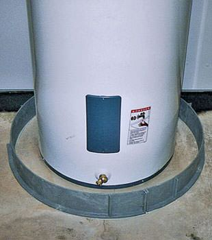 An old water heater in Brentwood Bay, BC with flood protection installed