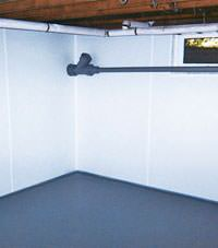Plastic basement wall panels installed in a Esquimalt, British Columbia home