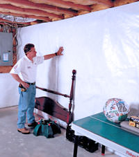 Plastic 20-mil vapor barrier for dirt basements, Esquimalt, British Columbia installation